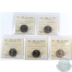 Lot of 1957-1961 Canada 5-cent ICCS Certified MS-64. You will receive the following dates: 1957, 195