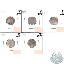Lot of 1911-1920 Canada Silver 10-cents in Fine or Better Condition (small problems, view image) You