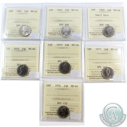 Lot of 1962-1976 Canada 10-cent ICCS Certified MS-64. You will receive the following dates: 1962, 19