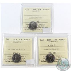 1978, 1979, 1980 Wide O, Canada 10-cent ICCS Certified MS-65. 3pcs.