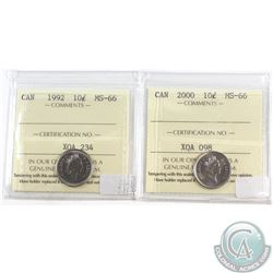 1992 & 2000 Canada 10-cent ICCS Certified MS-66. 2pcs.