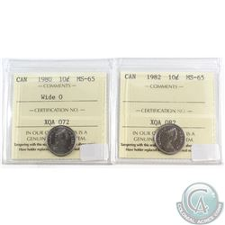 1980 Wide O, 1982 Canada 10-cent ICCS Certified MS-65. 2pcs.