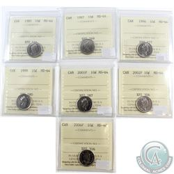 Lot of 1985-2006 Canada 10-cent ICCS Certified MS-64. You will receive the following dates: 1985, 19