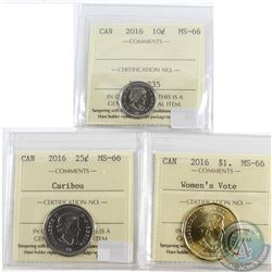 2016 Canada 10-cent, 25-cents Caribou, 2016 Woman's Vote Loon $1 ICCS Certified MS-66. 3pcs.