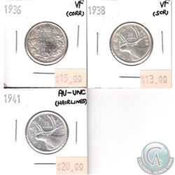 1936 VF, 1938 VF, 1941 AU-UNC Canada Silver 25-cents Lot (small problems, view image) 3pcs.
