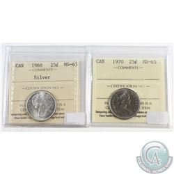 1968 Silver & 1970 Canada 25-cent ICCS Certified MS-65. 2pcs.