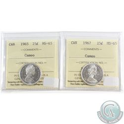 1965 & 1967 Canada 25-cent ICCS Certified MS-65 Cameo. 2pcs.