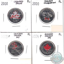 Lot of 2000-2004 Canada Day Coloured 25-cents PL Collection. You will receive the following dates: 2