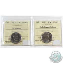 2013 Salaberry & 2013 Coloured Salaberry Canada 25-cent ICCS Certified MS-65. 2pcs.