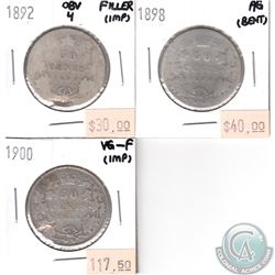 1892 Filler, 1898 AG, 1900 VG-F Canada Silver 50-cents (some problems, view image) 3pcs.