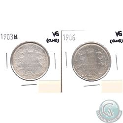 1903H & 1906 Canada Silver 50-cents Very Good (lightly cleaned) 2pcs.