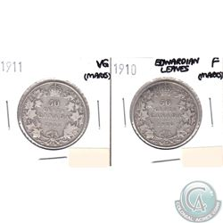 1910 Edwardian Leaves Fine & 1911 VG Canada Silver 50-cents (marks) 2pcs.
