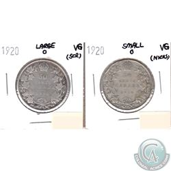 1920 Large 0 & 1920 Small 0 Canada Silver 50-cents VG (impaired, view image) 2pcs.