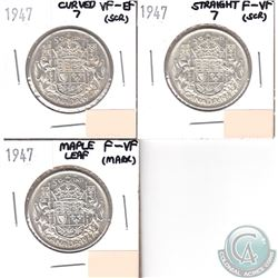 1947 Curved 7 VF-EF, 1947 Straight 7 F-VF, 1947 ML F-VF Canada Silver 50-cents Lot (impaired, view i