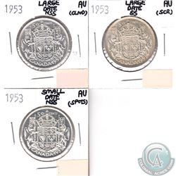 1953 Large date NSS, 1953 Large date SS, 1953 Small Date NSS Canada Silver 50-cents AU-50 Condition