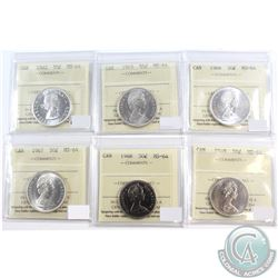 Lot of 1962-1969 Canada 50-cent ICCS Certified MS-64. You will receive the following dates: 1962, 19