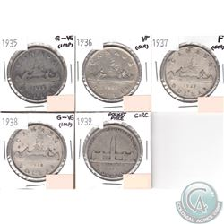 Lot of 1935-1939 Canada Silver Dollar Collection (impaired, view image). You will receive the follow
