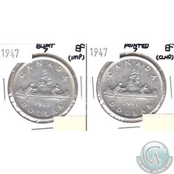 1947 Blunt 7 & 1947 Pointed 7 Canada Silver Dollars in Extra Fine Condition (impaired, view image).