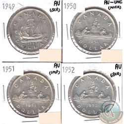 Lot of 1949-1952 Canada Silver Dollars in AU-50 or Better Condition (impaired, view image) You will