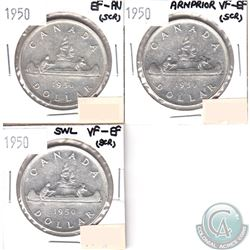 1950 EF-AU, 1950 Arnprior VF-EF, 1950 SWL VF-EF Canada Silver Dollars (impaired, view image) 3pcs.