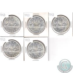 Lot of 5x 1963 Canada Silver Dollars. 5pcs.