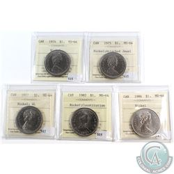 Lot of 1974-1986 Canada Nickel Dollars ICCS Certified MS-64. You will receive the following dates: 1