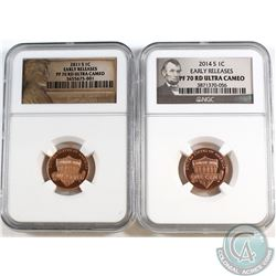2011s & 2014s United States 1-cent NGC Certified PF-70 Red Ultra Cameo, Early Release. 2pcs.