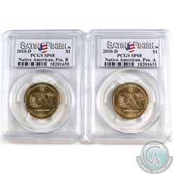 Pair of 2010-D United States Native American Pos. A & Pos. B PCGS Certified SP68. 2pcs.