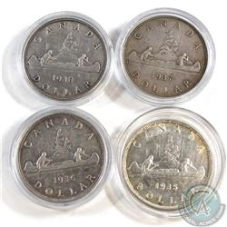 Estate Lot of 1935-1938 Canada Silver Dollars. You will receive one of each date between 1935 and 19