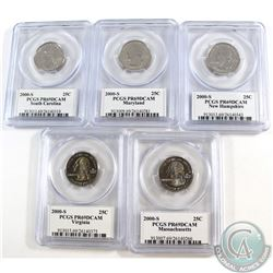 Lot of 5x 2000 USA Statehood Quarters PCGS Certified PR-69. 5pcs