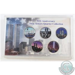 Lot of 2001 United States 9/11 Twin Towers Coloured Quarter Collection in plastic display holder. 5p
