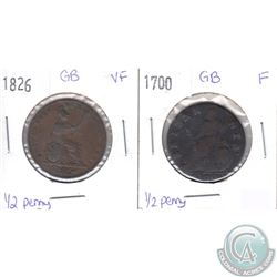 1700 Fine & 1826 Very Fine Great Britain 1/2 Penny set. 2pcs.