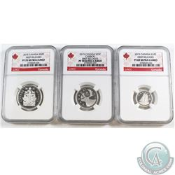 2015 Canada 10-cents NGC Certified PF-69, 2015 25-cents NGC Certified PF-70, and the 2015 50-cents N