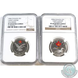 2004 & 2006 Canada Lucky Loonie NGC Certified PF-68 Ultra Cameo. 2pcs.