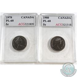 1978 Canada 5-cents ACG Certified PL-68 & 1980 Canada 5-cents ACG Certified PL-68 . 2pcs.