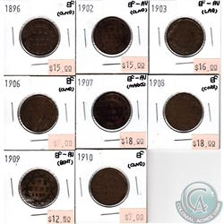 Lot of 1896-1910 Canada Large 1-cent Collection. You will receive the following dates: 1896, 1902, 1