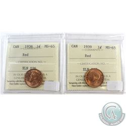 1938 & 1939 Canada 1-cent ICCS Certified MS-65 Red. 2pcs.
