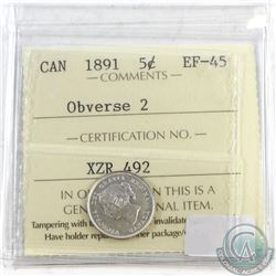 1891 Canada Silver 5-cents Obv. 2 ICCS Certified EF-45