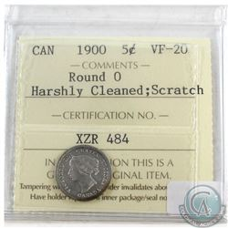 1900 Canada Silver 5-cents Round 0 ICCS Certified VF-20 Harshly cleaned/scratched