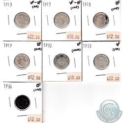 Lot of 1913-1936 Canada 10-cents Collection. You will receive the following dates: 1913, 1917, 1918,