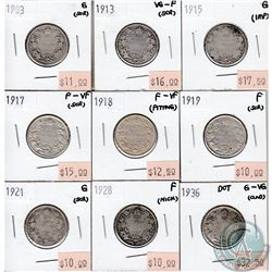 Lot of 1903-1936 Canada Silver 25-cents Collection. You will receive the following dates: 1903, 1913