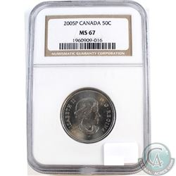 2005P Canada 50-cents NGC Certified MS-67. NGC Slab contains faint scratches.