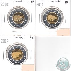 2010, 2011, 2012 Canada Silver $2 Proof Collection. 3pcs.