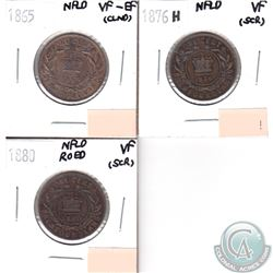 1865 NFLD 1-cent VF-EF, 1876H NFLD 1-cent VF, 1880 NFLD RO ED 1-cent VF. Coins are impaired, view im