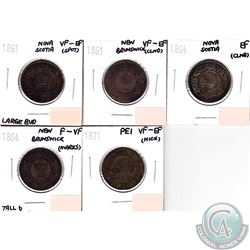 Lot of 1861-1871 Maritimes 1-cent Collection. You will receive the following coins: 1861 NS Large Bu
