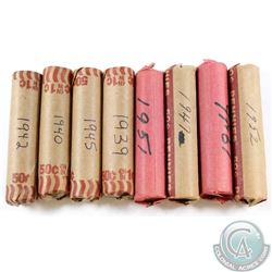 Estate Lot of 8x Canada 1-cent Paper Rolls of 50pcs Dated 1939-1952. You will receive 1939, 1940, 19