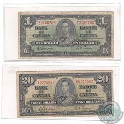 2 x 1937 Series Banknotes from the Bank of Canada. Denominations include $1 and $20. 2 pcs