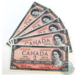 5 x 1954 Replacement $2.00 Notes with Consecutive Serial Numbers. 5 pcs