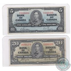 2 x 1937 Series Banknotes from the Bank of Canada. Denominations include $5 and $20. 2 pcs