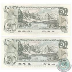 Pair of 1979 $20.00 Notes with Thiessen-Crow Signatures and Consecutive Serial Numbers both in UNC C